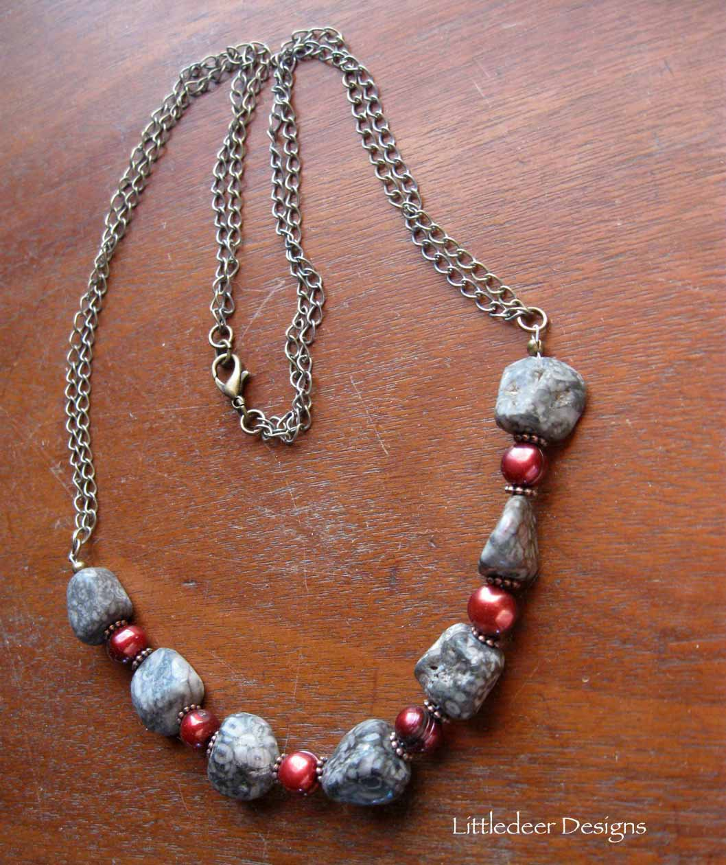 Handmade Fossil Agate with cranberry freshwater pearls necklace