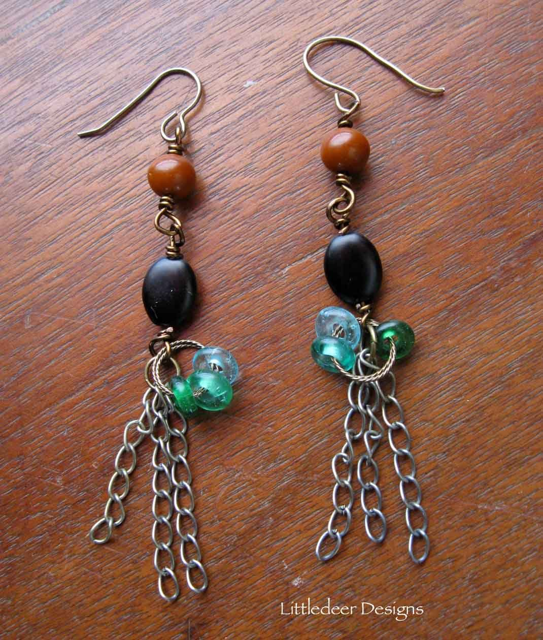 Handmade rust, black, and green with brass chain earrings
