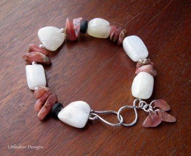 Handmade Calcite, Rhodochrosite, and silver bracelet