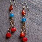 Handmade Carnelian, red Czech fireglazed rondelles with Carribean Blue Swarovski crystals earrings
