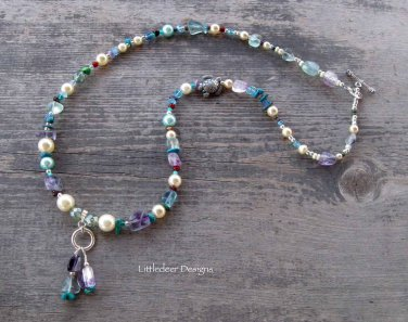 Handmade glass pearl, rainbow fluorite, and turquoise with silver necklace