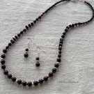 Handmade graduated obsidian rounds with silver necklace and earring set