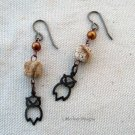 Handmade copper pearl, picture jasper, and brass owl earrings
