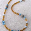 Handmade honey glass and aqua terra jasper necklace