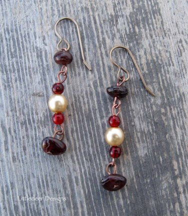 Handmade natural garnet with cream pearls and cranberry beads earrings
