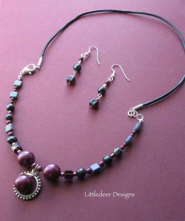 Handmade Swarovski Blackberry crystal pearl necklace and earring set
