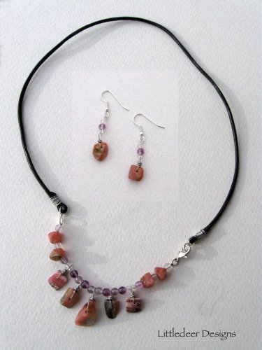 Handmade Rhodochrosite and purple fluorite necklace and earring set