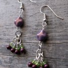Handmade amethyst metallic luster, blackberry pearl, and peridot earrings