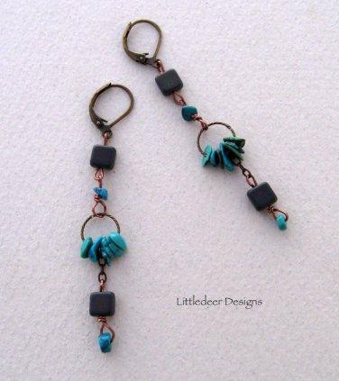 Handmade Turquoise and purple matte Czech bead earrings