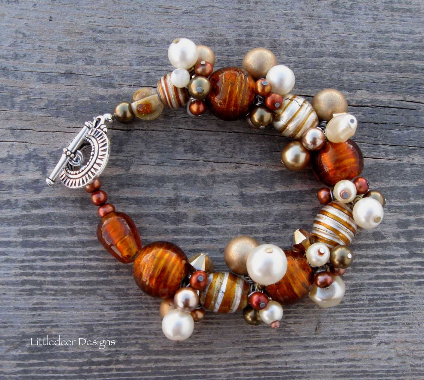 Handmade copper lampworked glass beads with gold and bronze pearl bracelet