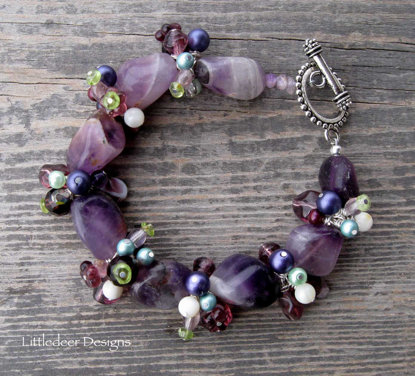 Handmade chevron amethyst with purple and green pearls bracelet