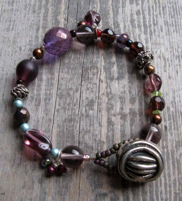 Handmade Amethyst bronze and silver bracelet