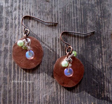 Handmade hammered copper round with Czech glass, peridot, and light green pearl earrings