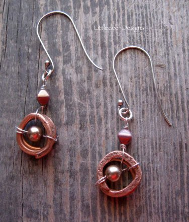 Handmade bronze crystal pearl and matte amethyst bicone with hammered copper coil earrings