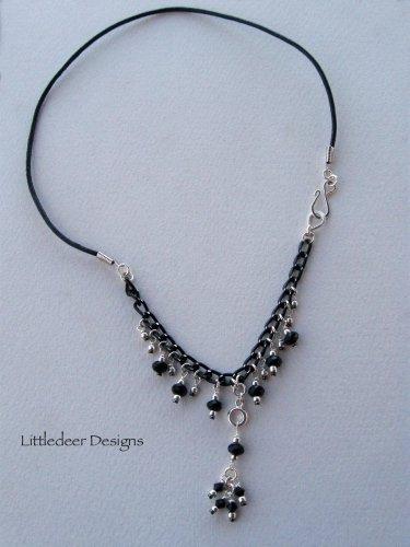 Handmade black Swarovski crystal and silver necklace