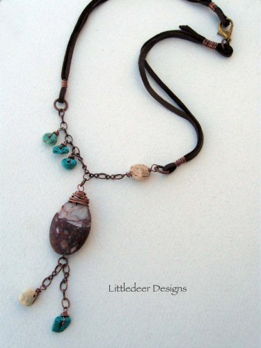 Handmade brecciated and picture jasper with magnesite necklace
