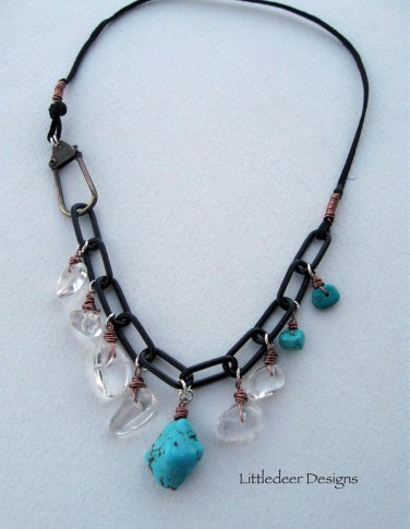 Handmade magnesite and quartz crystal on black chain necklace