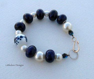 Handmade cobalt porcelain, handpainted blue/white, vintage pearl bracelet