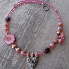Handmade Pink Hybiscus with Garnet and Pewter Heart necklace