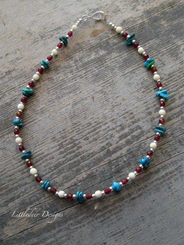 Handmade Garnet Turquoise and Bone choker necklace
