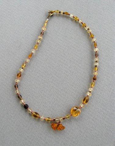 Handmade Citrine and Honey Glass choker necklace