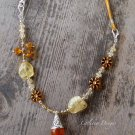 Handmade Citrine, Czech glass flower coin and Tibetan Amber Resin pendant necklace