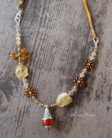 Handmade Citrine, Czech glass flower coin and Tibetan Amber Resin pendant necklace