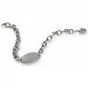 Personalized Stainless Steel Oval Charm Bracelet GC291