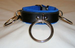 Blue Lined Triple O Ring Leather Collar - Roller Buckle