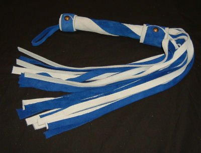 20 Lash 1/2 Inch Wide White and Blue Suede Flogger