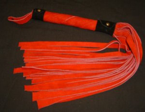 20 Lash 1/2 Inch Wide Red Suede Flogger