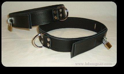 Thigh cuff Black Leather On Black Leather Locking (set of 2)