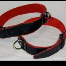 Thighs Cuffs Black Leather On Red Suede Roller Buckle (Set of Two)
