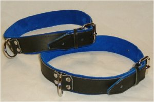 Thighs Cuffs Black Leather On Blue Suede Roller Buckle (set of 2)