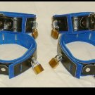 Wrist and Ankle Cuffs Black Leather On Blue Suede Locking (set of 4)