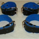 Wrist and Ankle Cuffs Black Leather On Blue Suede Roller Buckle (set of 4)