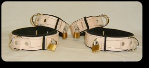 Wrist and Ankle Cuffs Tan Leather On Black Suede Locking (set of 4)
