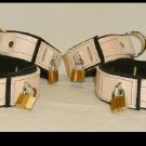 Wrist and Ankle Cuffs Tan Leather On Black Leather Locking  (set of 4)