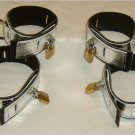 Set of FOUR Locking Silver Metallic Leather Cuffs