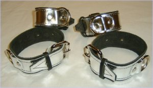 Set of FOUR Roller Buckle Silver Metallic Leather Cuffs