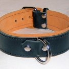 1 Ring Tan Suede Lined Leather Collar - Roller Buckle