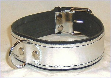 One Ring Silver Metallic Leather Collar Roller Buckle