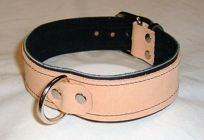 Black Leather Lined with Tan Leather 1 Ring Collar (All Leather)- Roller Buckle