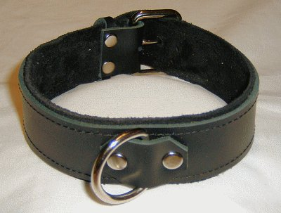 1 Ring Black Suede Lined Leather Collar - Roller Buckle