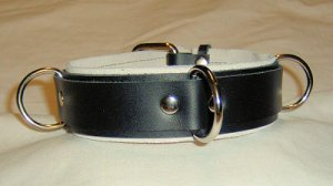 3 Ring White Suede Lined Leather Collar - Roller Buckle