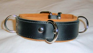3 Ring Tan Suede Lined Leather Collar - Roller Buckle