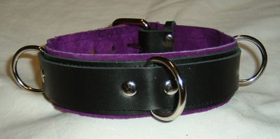 3 Ring Purple Suede Lined Leather Collar - Roller Buckle