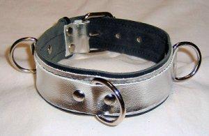 Three Ring Silver Metallic Leather Collar Roller Buckle