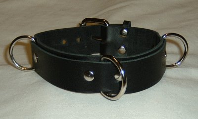 3 Ring Black Suede Lined Leather Collar - Roller Buckle