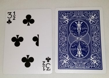 3 1/2 of Clubs, Bicycle Blue Back, Gag Card (2049)